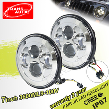 DOT 45W High Beam Halo Angel Eye Ring Jeep Wrangler LED Headlight