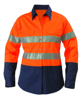 Wholesale Reflective Hi Vis Double/Two Pocket Cotton Work Shirt Orange Blue