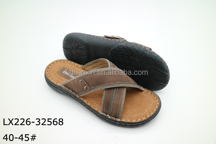2016 cheap price new design comfort flat sandal shoes wholesale man genuine leather outdoor beach slipper