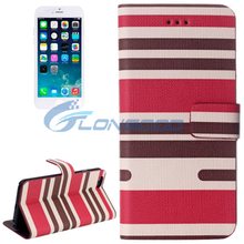 Variegated Stripe Texture Horizontal Flip Leather Case with Card Slots & Holder for iPhone 6 4.7""