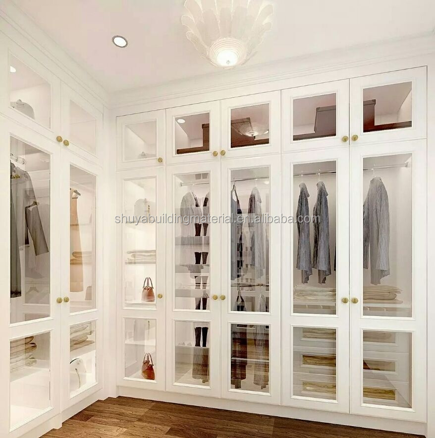Solid wood Bedroom Furniture wardrobe classical walk in closet with glass doors