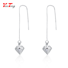 Silver Plated Long Chain Jhumka Korea Style Earring Chandelier Hanging Earrings