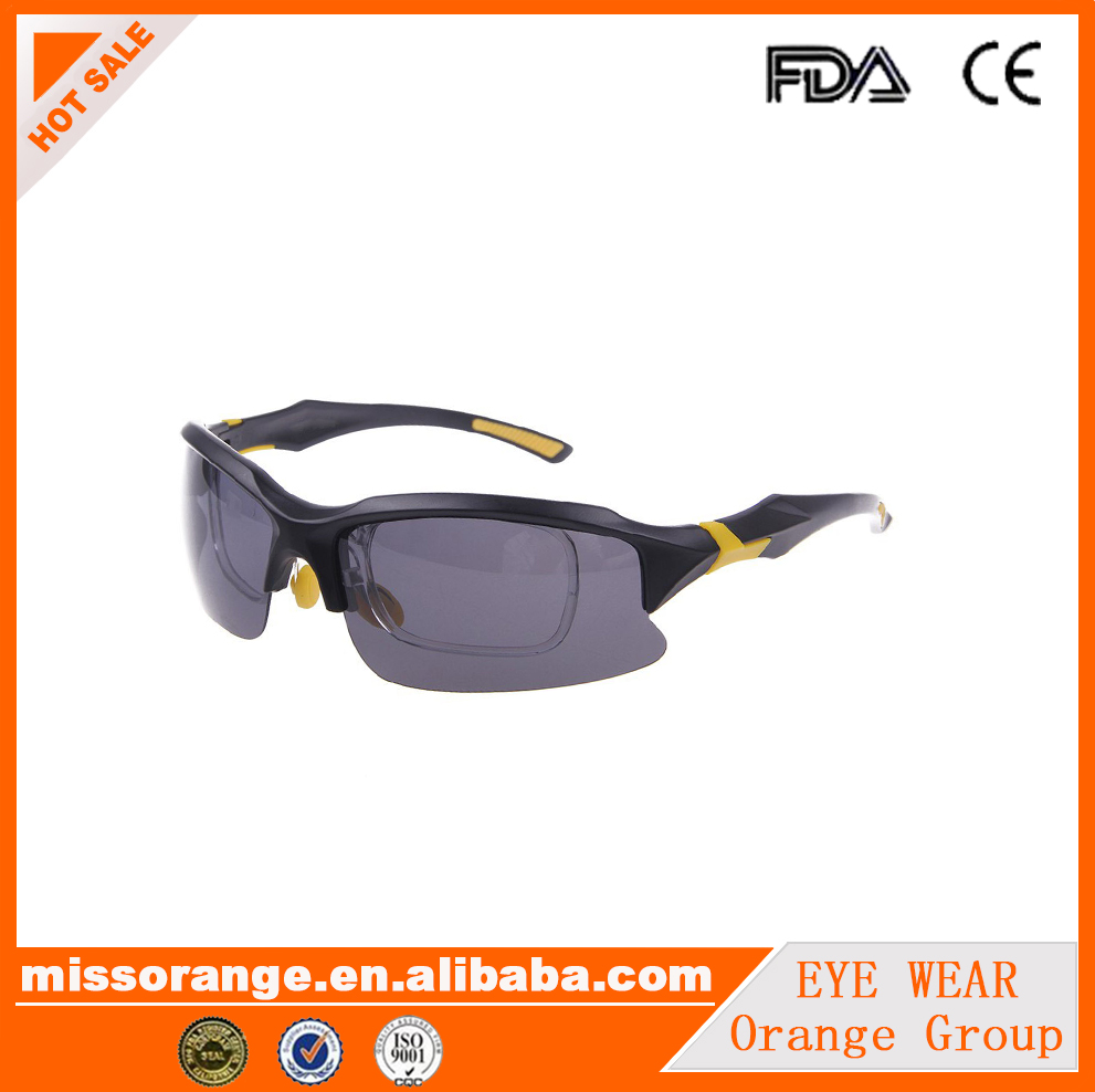high quality custom logo polarized night driving sport sunglasses with optical insert lens