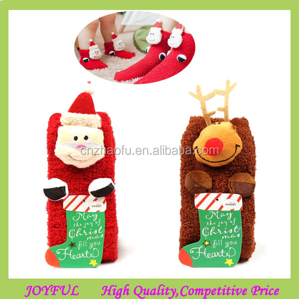 Newest Winter Warm cartoon baby Soft fleece Knitted Socks Parent-child dress Christmas Socks
