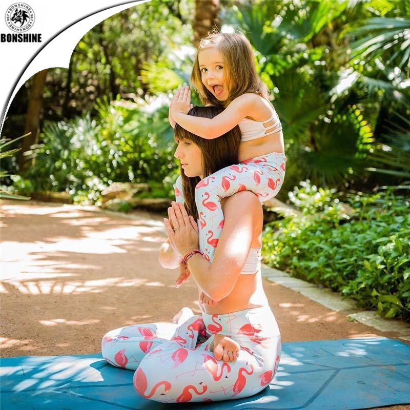 Flamingo Print Children 's Parenting Yoga Set Sports Leisure Printing Stretch Quick Dry Leggings Pants