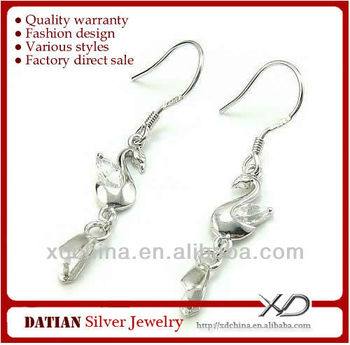 XD C722 925 sterling silver earring hooks with pinch bail silver and cubic zirconia