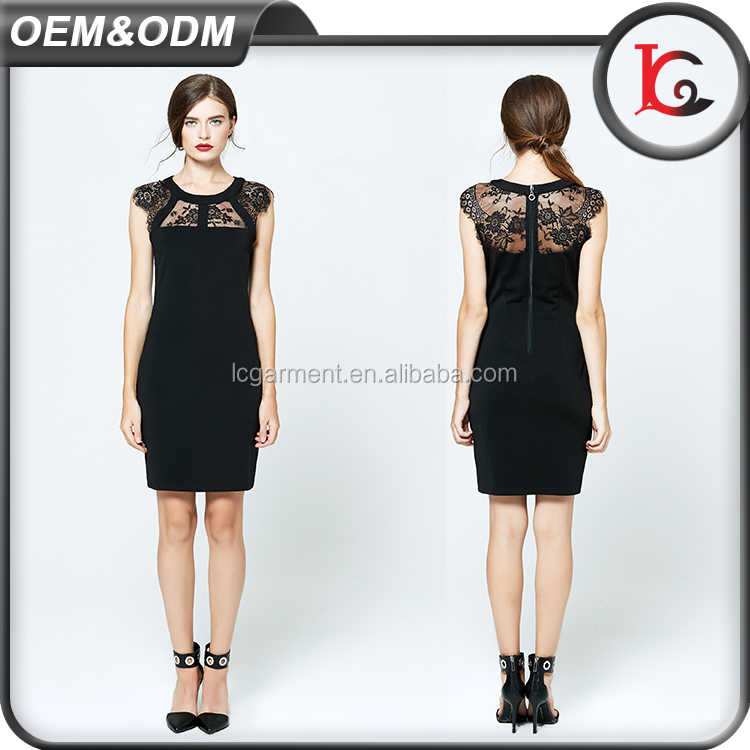 wholesale casual cutting dress women fashion pictures western designs round collar ladies black lace dress