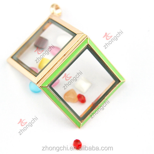 Square floating locket, enamel green glass locket colorful jewelry trends