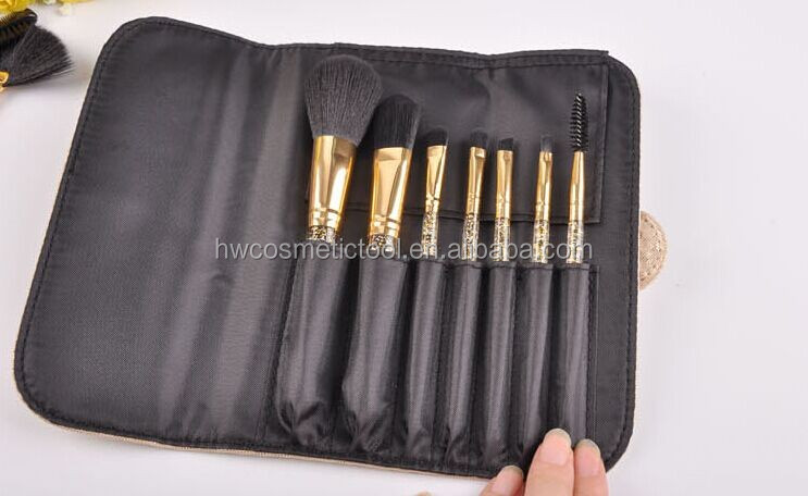 Most popular gold color diamond handle 12pcs makeup brush kit with PU case