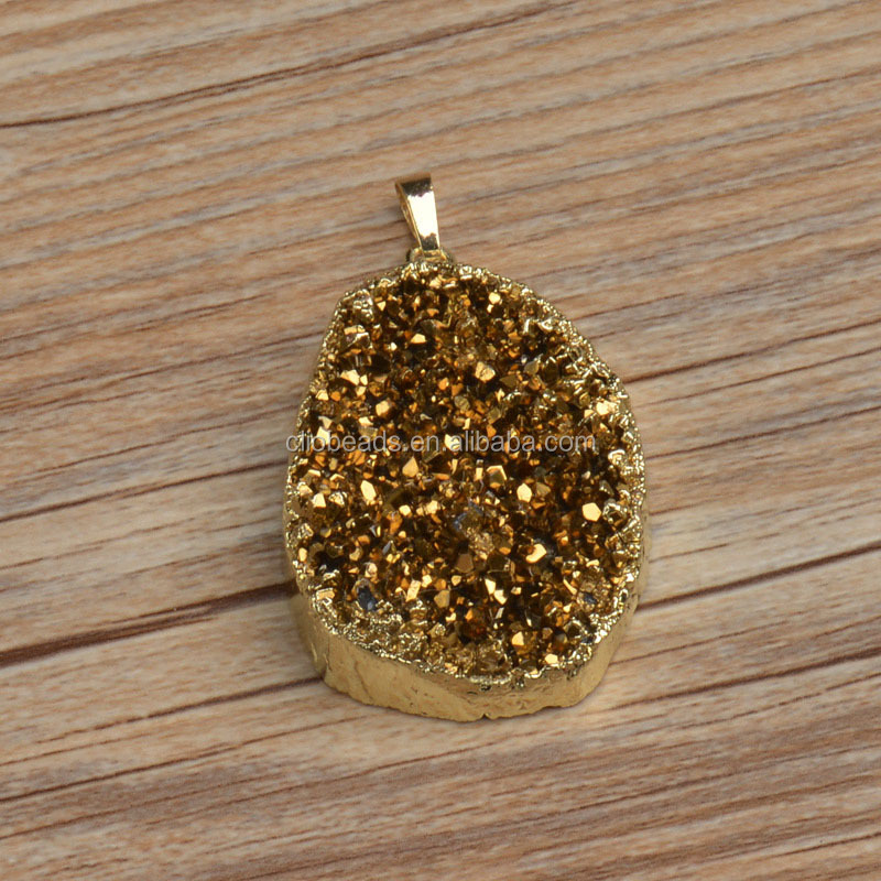 Crystal Pave Plated Drusy Agate Pendant Druzy Pendant Wholesale