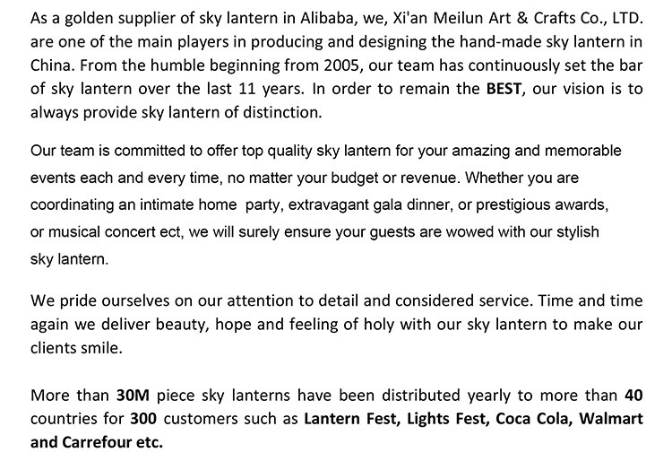 Wholesale Wishing Balloons Flying Sky Lanterns