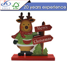 XL 049 Beautiful reindeer shape wooden animal christmas ornaments craft