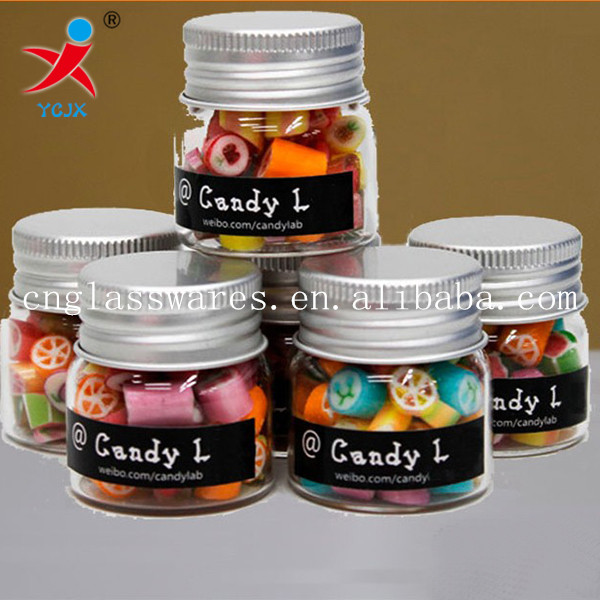 clear glass candy jar with metal lid