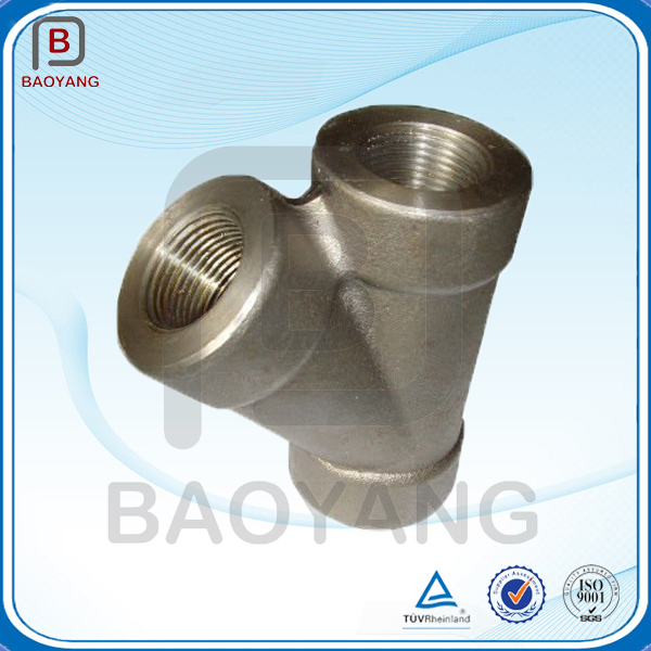 Steel forging degree y branch pipe fitting lateral tee