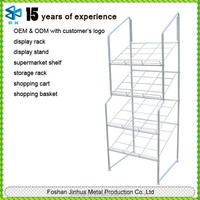 High capacity of decorative wrought iron shelves for used newspaper racks/book reading stand