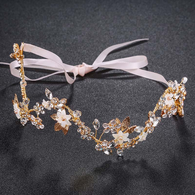 Wholesale headbands handmade cheap luxury crystal gold bridal wedding hair accessories