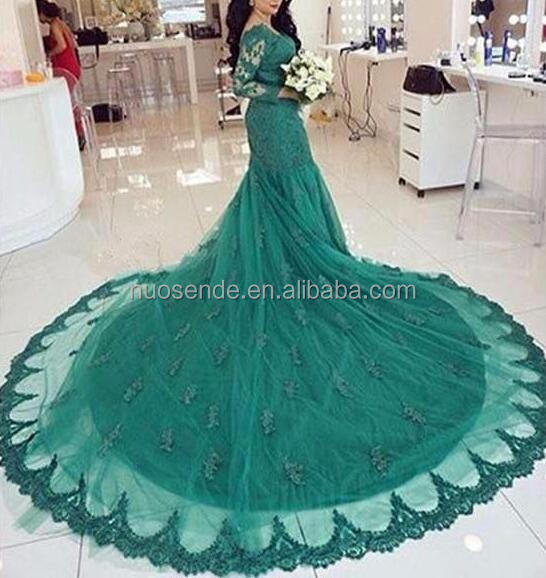 Elegant Long Sleeves Green Lace Evening Dresses Mermaid Formal Dress Arabic Muslim Women Prom Party Gowns