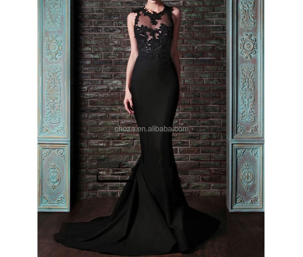 C71656A Sexy Black Mermaid Floor-Lenght Celebrity Evening Dresses