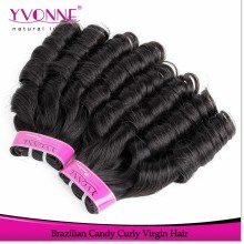 Grade aaaa candy curl brazilian remy human hair extension