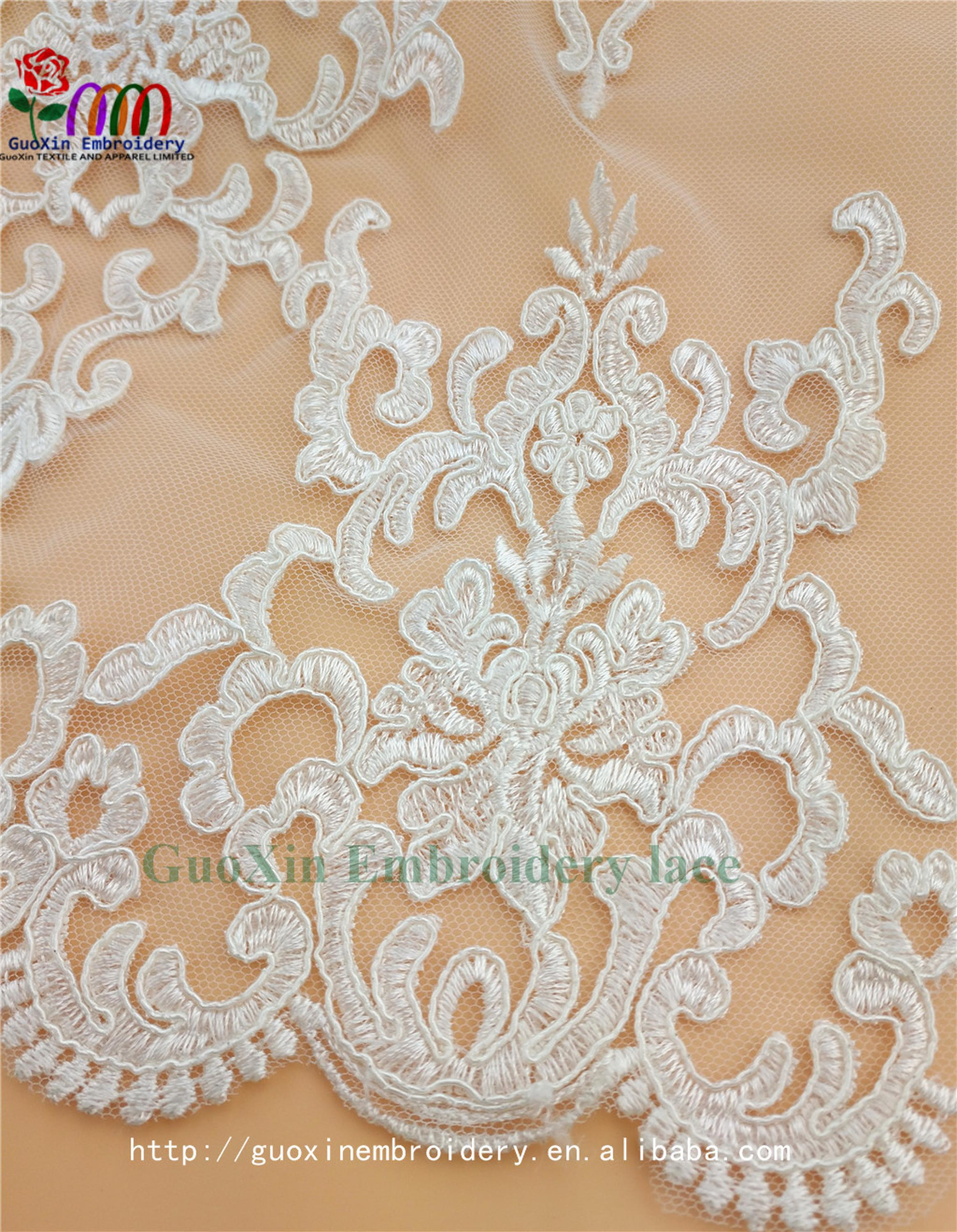 embroidery tulle manufacture wholesale wedding veil ivory lace fabric with cording