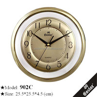 Transparent gold frame wall clock with aluminum dial