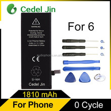 Wholesale High quality for iPhone 6 lithium battery, 1810mAh lithium battery for iPhone 6
