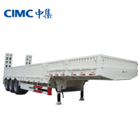 CIMC Flat Vessel Deck, Low Bed Semi Trailers Extendable in Width