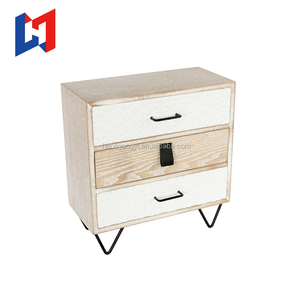 Customize Holders Retro Makeup Organizer Wooden Jewelry Three Layers Storage Cabinet