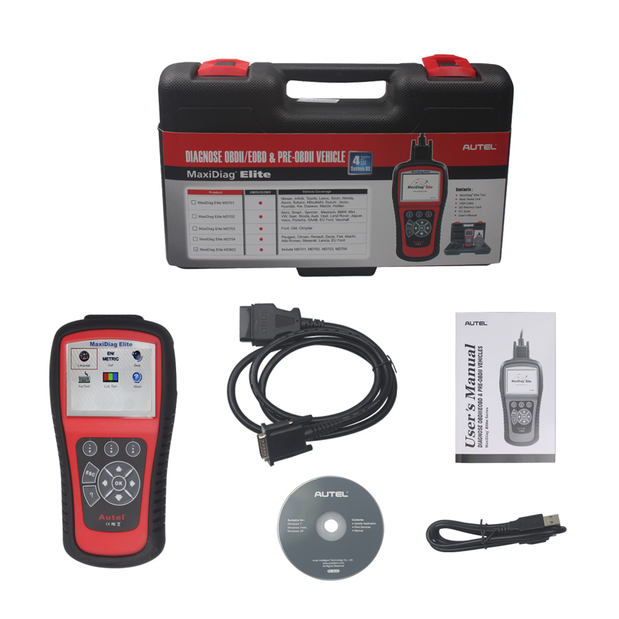 100/% Original Autel Maxidiag Elite MD802 All System+DS Model Car Diagnostic Tool