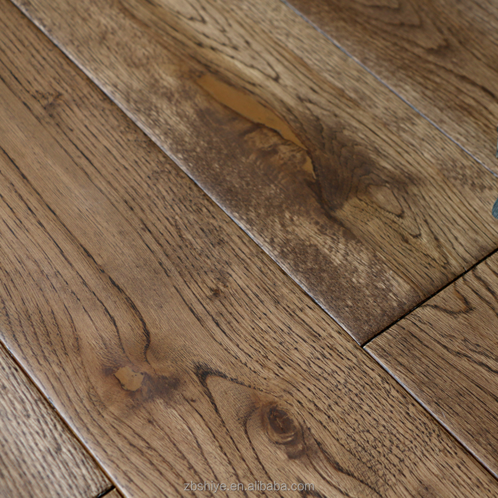 Prefinished Hand Scraped Acacia Hardwood Flooring Solid