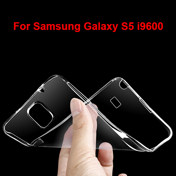 S5002 Factory Supplier 0.6mm Transparent TPU Cover for Samsung Galaxy S5 , Soft Cell Phone Case
