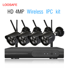 loosafe Wireless Security Camera System 4 Channel Video Recorder CCTV NVR 4MP Wifi Outdoor Network IP Cameras kits
