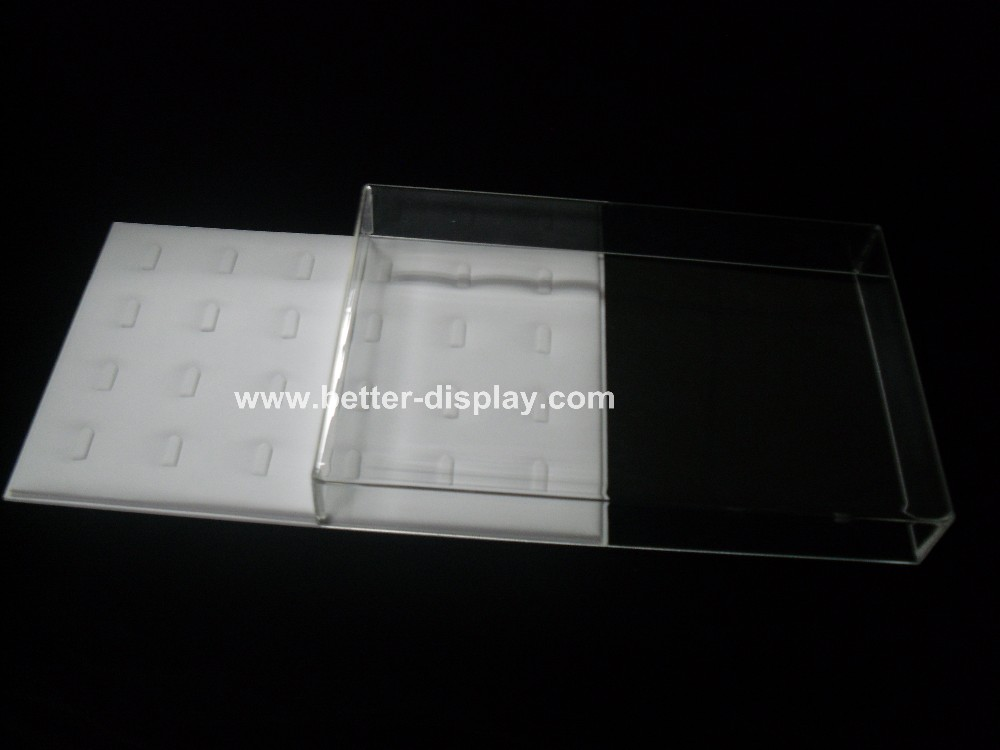 clear plastic acrylic jewelry display tray with lid