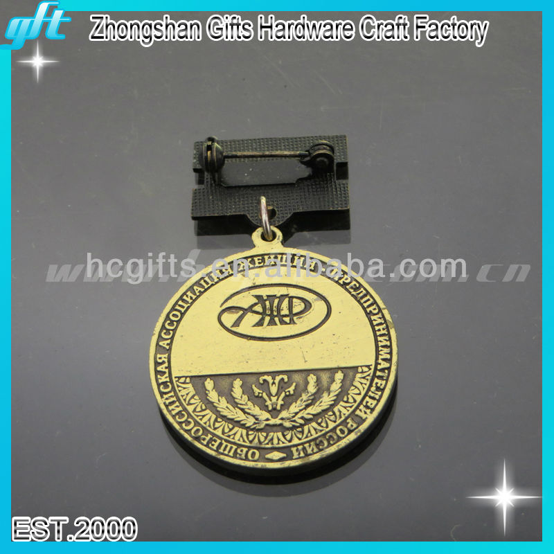 2014 China manufactury various types of metal royal medal with antique gold color