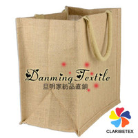 TEXTILE FACTORY CUSTOMIZED PRODUCE 100% Jute Reusable Simple Shopping Burlap Bags