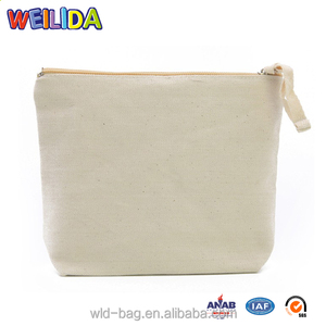 Wholesale Blank Canvas Cosmetic Bag with White Burlap Makeup Bags