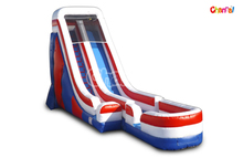 Front Load Single Lane Commercial Inflatable Patriotic Dry/Wet Slide