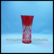hand carved red colored crystal glass vases