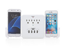 4-Port USB & A/C (3) Power Strip Wall Charger Surge Protector With Slide Out Smart Phone Holders