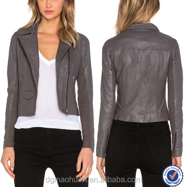 Ladies Grey Leather Jacket
