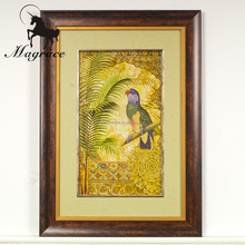 Europe style photo frame, hanging parrot oil painting with photo frame, wall pictures for living room