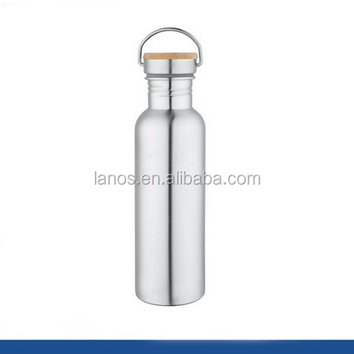 Hot selling stainless steel water sport bottle with sealed bamboo cap lid
