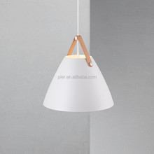 Modern Indoor Pendant Lighting Lamp Metal Shade With Leather Designer Decorative Hanging Home