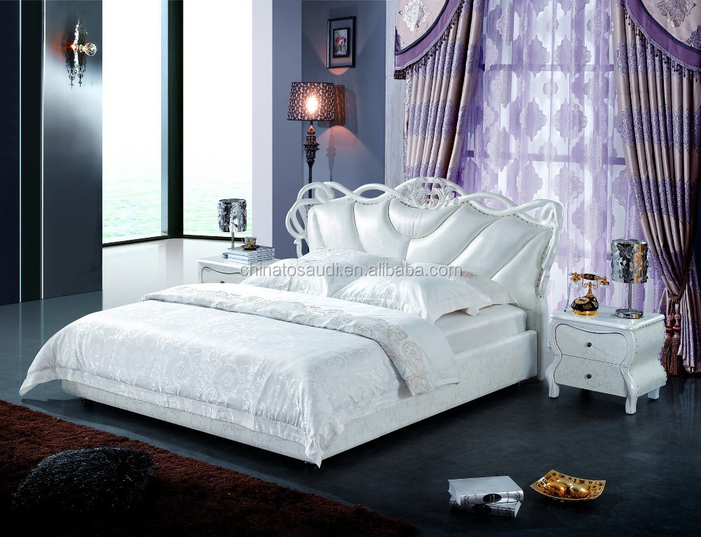 Classic latest double bed designs leather bed buy latest bed designs 2013 white leather bed - Designs of bed back ...