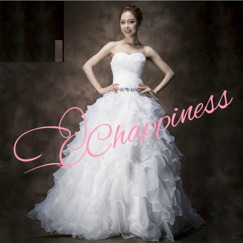 Cchappiness China Made Organza Ruffle Fashion Bridal wedding Ball Gown Dress