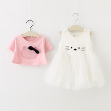 Girls Clothing Sets New Summer Fashion Style Cartoon Kitten Printed T-Shirts+Net Veil Dress 2Pcs Girls Clothes Sets
