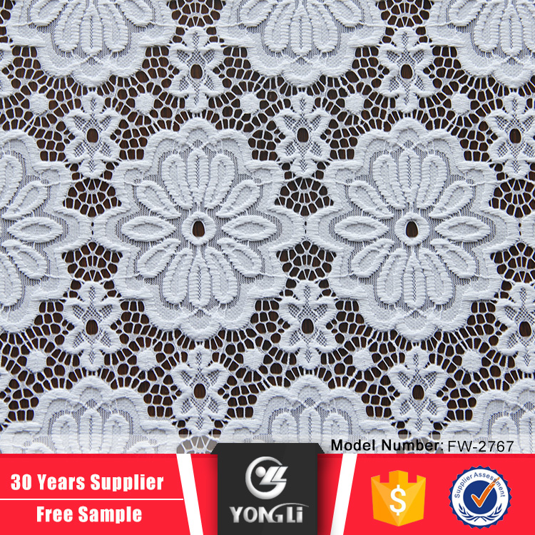 China manufacturer large flower white lace fabric market in dubai
