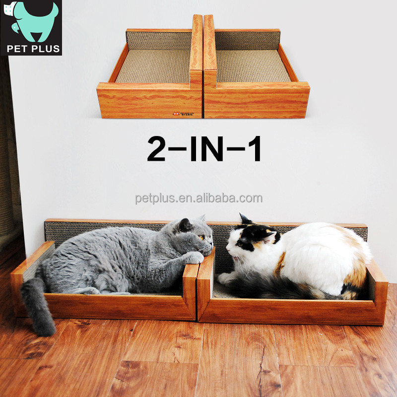 pet products fashion design Sofa shaped cardboard cat scratcher with catnip