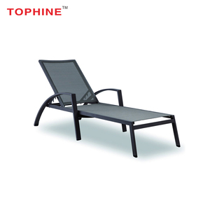 Commercial Contract TOPHINE Used Outdoor Sun Beach Aluminum Frame Tslin Mesh Pool Chaise Lounge