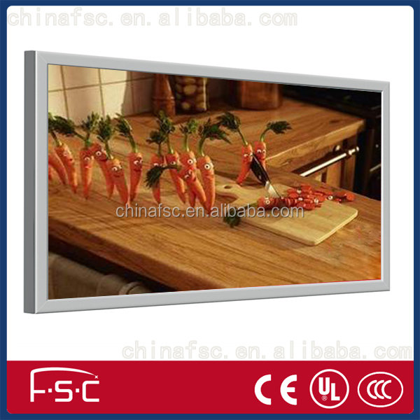 Hot food display led fabric snap open aluminum light box advertising frames